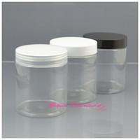Wholesale Clear Plastic Pet Containers - 30pcs lot 250g PET Skin Care Cream Jar 250ml Plastic Storage Clear Container PET Cookie Jar Three Color Cap