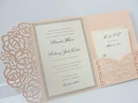 Wholesale graduation invites for sale - Group buy Light Pink Wedding Invitations Silver Glitter Graduation Evening Party Invites Free Black Printing