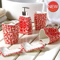 Wholesale dishes liquid resale online - Eco Friendly Set Household Wash Brush Cup Liquid Soap Dispensers Soap Dishes European Ceramic Bathroom Set Accessories