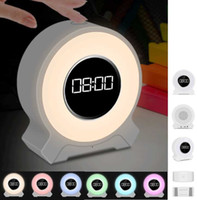 Wholesale Led Clock Radios - Multisensory Digital Alarm Clock Wireless Bluetooth Speaker F9 Desktop LED Light Touch Lamp Speaker With Mic, FM Radio,TF Card MP3 Subwoofer