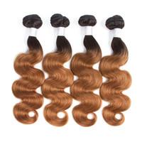ombre remy insan saç uzantıları dokuma toptan satış-2 Ton Ombre Perulu Vücut Dalga Saç Örgü Demetleri 1B / 30 Olmayan Remy İnsan Saç Uzantıları 3 Veya 4 Paketler İnsan Saç Uzantıları Ombre Örgüleri