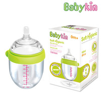Wholesale Big Baby Bottles - Babykin 180ML(8fI oz) Tritan Breast Tactility Feeder Big Mouth Silicone Baby Bottle with Handle Simulation of Nipple Design