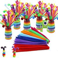 montessori malzemeleri toptan satış-100 adet / grup bendaroos Montessori Materyalleri Matematik Şönil Sticks kaynaklanıyor Bulmaca Zanaat Çocuk Boru Temizleyici Eğitim Yaratıcı Oyuncak