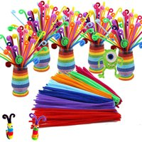 Wholesale chenille pipe resale online - 100pcs bendaroos Montessori Materials Math Chenille stems Sticks Puzzle Craft Children Pipe Cleaner Educational Creative Toy
