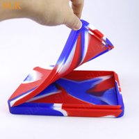 Flat silicone storage box 200ml dab rig cases big rolling tray for dry herb non-stick pizza container