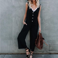 0f07a165e09 Overall Black Long Pants Women Straps Sleeveless Fashion Button Wide Leg  2018 Summer Female Plain Casual Jumpsuit