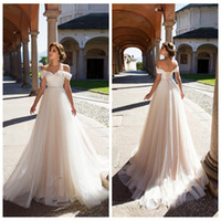 Wholesale one shoulder bridal wedding gown - 2018 Simple Sexy Off Shoulder Light Champagne Tulle Beach Wedding Dresses Custom Lace Appliques Corset Back Bridal Gowns Custom Lace Up