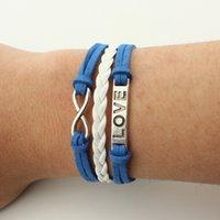 Wholesale Leather Word Bracelets - G0007 jewelry fashion beautiful multi-element bracelet 8 word LOVE multi-layer bracelet bracelet jewelry wholesale and retail sales free pos