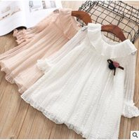 Wholesale Pink Doll Dresses - Girls lace dresses Kids falbala doll lapel hollow out dress 2018 new Spring Children Flared sleeve Bows knitting pompons dress white C2693