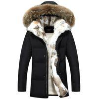 casaco de pele de homem venda por atacado-Longa com capuz Parkas Homens quente grossa jaqueta Mens Inverno Casaco masculino Plus Size S-5XL Marca Vestimenta Homem Fur Overcoats Collar