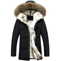ingrosso lungo parka invernale per gli uomini-Lungo Parka con cappuccio da uomo spesso caldo cappotto invernale da uomo Cappotto maschio Plus Size S-5XL Marca Abbigliamento Uomo Cappotto collo di pelliccia Cappotti