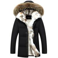 kapüşonlu erkekler kürkü toptan satış-Uzun Kapşonlu Parkas Erkekler Kalın Sıcak Erkek Kış Ceket Ceket Erkek Artı Boyutu S-5XL Marka Giyim Adam Ceket Kürk Yaka Paltolar