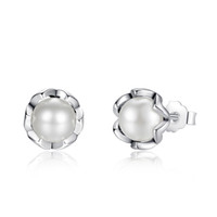 Wholesale pandora pearls - Pandora Earrings 925 Sterling Silver Cultured Elegance Stud Earrings With White Fresh Water Cultured Pearl Sterling Silver Jewelry