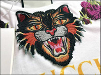Wholesale Love Print Long Sleeve Shirt - Fashion Blind For Love Embroidery Tiger Head T-Shirt Women Fashion Casual Short Sleeve Tops Tees T Shirts