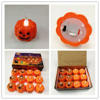 halloween lanterns pumpkin 2018 - Halloween Decoration LED Night Light Battery Powered Pumpkin Spider Web Skull Holder Lamp Lantern