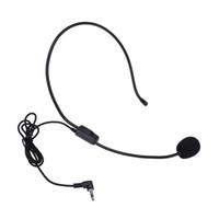 micrófonos para la enseñanza al por mayor-Auricular auricular portátil micrófono con cable 3.5 mm micrófono de condensador guía de altavoz universal enseñanza conferencia micrófono regalo