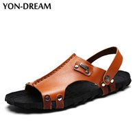 Wholesale Beach Dreams - Yon-Dream Men's Sandals Strong Quality Hand Sewing Cow Leather Men Beach Shoes Soft Breathable Summer Shoes For Men