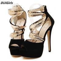 черные римские сандалии женщин оптовых-DiJiGirls  women golden Metal Leaves Sequined high heels sandals woman open toe platform roman party shoes black stileos