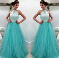 Wholesale aqua floor length dresses resale online - Aqua Prom Dresses Formal Evening Party Pageant A line Gowns African Black Girl Halter Lace Long Cheap