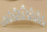 Wholesale crowns tiaras women - 2018 Best Selling Wedding Accessories Luxury Rhinestone Silver Bridal Crowns Women Formal Ceremony Shining Princess Crowns