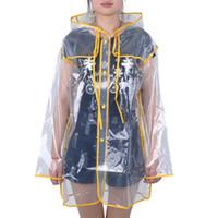 vinil yağmur toptan satış-Şeffaf Yağmurluk PVC Vinil Su Geçirmez Yağmurluk Açık Seyahat Pist Kapşonlu Panço Yağmur Palto Bayanlar Rainwear