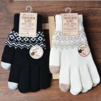 ingrosso uncinetto a dito-4 colori Guanti Magic Touch elasticizzati Solid Warm Guanti invernali in maglia di lana Guanti full finger all'uncinetto