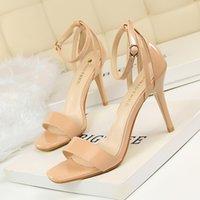 ultra stiletto fersen sandalen großhandel-Die neue Mode Kleid Temperament elegante einfache dünne Ultra High Heel Stiletto mit einem sexy Nachtclub Sandalen Hochzeit Schuhe schnelle Lieferung