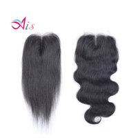Wholesale middle part hair weave for sale - Promotion Grade Lace Closure Brazilian Hair Natural B Silky Straight Hair Weaves Top Closures Dyeable Hair Extensions