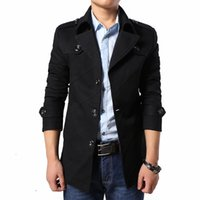 Wholesale High Collar Trench Coat - Wholesale- 2016 Fashion New Arrival Trench Men High Quality Turn-Down Collar Jacket Men Outerwear Men's Trench Coat Plus Size 4XL