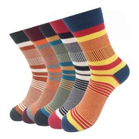 Wholesale wholesale colored socks - Cotton Men Colored Socks Striped Compression Brand 2017 Autumn Winter Breathable Long Socks 5 Pairs lot