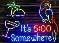 ingrosso luce del neon pappagallo-It's 5 O'clock Somewhere Parrot tubo di vetro Luce al neon Iscriviti Home Beer Bar Pub Sala ricreativa Luci di Windows Vetro Wall Signs 17 * 14 pollici