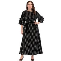 Wholesale attach dress for sale - Group buy 3185749 Plus Size XL Muslim Women s Dress Middle East Skirt Round Collar Frill Dot Wave Fashion Dress Women Waist Belt Attached Mujer