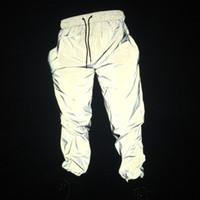 dans kostümleri pantolon toptan satış-Sonbahar erkekler rahat yansıtıcı pantolon hip hop joggers kadınlar tam yansıtıcı hiphop dans pantolon gece kulübü pantolon sahne kost ...