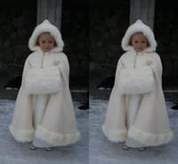 fuchsia bolero jacken großhandel-2019 Winter Warme Blumenmädchen Kunstpelz Mädchen Wrap Weiß Elfenbein Pelzschal Mäntel Jacke Boleros Shrug Brautkleider Kleine Kinder Cap Wrap