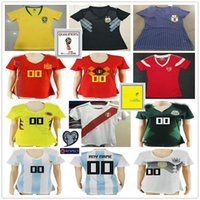 Wholesale mexico soccer jerseys black - 2018 World Cup Women Soccer Jersey Spain Russia Belgium Colombia Brazil Mexico Argentina Japan Peru Portugal Ladies Custom Football Shirt