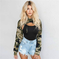 Wholesale hoodie vest women - Sexy Basic Camouflage Printed Pullover Cropped Hoodie Women Sweatshirt Hoodies Fashion Autumn Harajuku Coat Tracksuit (without vest)