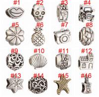Wholesale camera beads - Mix Silver Bead Charm European Car House Camera Skull Pineapple Bead Fit Pandora Bracelets & Necklace Free shipping