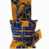 Wholesale super wax hollandais - Nigeria New Style HandBag And Wax Fabric Sets New Arrival African Super Wax Hollandais Prints Handbag Set For Woman Dress A03