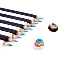 mekanik kalem ücretsiz gönderim toptan satış-10 Adet Gökkuşağı Kalemler Çizim Boyama Kırtasiye Okul Kawaii Öğrenci Hediye Seti