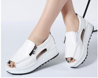 Wholesale ladies shoes zipper - 2018 Summer women sandals wedges sandals ladies open toe round toe zipper black silver white platform sandals shoes 8332