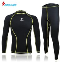 bodybuilding suits Australia - ARSUXEO Brand Suit Running Fitness Bodybuilding Tights Base Layer Cycling Clothing Men Sports Clothing Shirt Pant Jersey