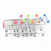 держатель корзины для покупок оптовых-DHL 60 шт. / лот горячая мода мини супермаркет ручной тележки мини корзина настольных украшения для хранения телефона Держатель детские игрушки