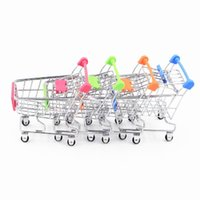 Wholesale shopping cart phone holder resale online - DHL Hot Fashion Mini Supermarket Hand Trolleys Mini Shopping Cart Desktop Decoration Storage Phone Holder Baby Toy
