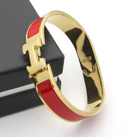 siyah renk altın toptan satış-Yeni varış klasik ALTıN RENK HB37 Takı H Mektubu Siyah Bileklik Kadın Erkek Için Altın kaplama Wristhand Kemer Bilezik ücretsiz kargo