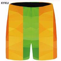 ingrosso giallo cargo shorts uomini-KYKU Marca Laice Men Giallo Beach Shorts Plus Size Cargo Gotico Pantaloncini casual stampato 3D Mens breve 2018 Estate Alta qualità