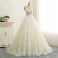 Wholesale arab photo resale online - Sexy Illusion Back Embroidery Appliques Quality A line Wedding Dresses Dubai Sleeveless Plus Size Pearl Sash Arab Wedding Dress