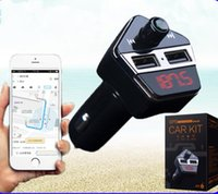 Wholesale gps car tracker iphone resale online - Car Bluetooth A2DP FM Transmitter GPS Positioning gps tracker V A Dual USB Car Charger MP3 player with APP