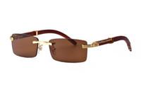 benzersiz erkekler gözlük toptan satış-Kare Carter Güneş Gözlüğü Manda Boynuzu Gözlük Erkekler için Benzersiz Lüks Çerçevesiz Tarzı Marka Tasarımcısı Altın Gümüş Çerçeveleri Ahşap Güneş Gözlüğü