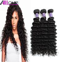 Wholesale cheap human hair extensions wefts - Free Shipping Brazilian Hair Extensions 3Pcs lot Cheap 8A Unprocessed Human Hair Weaves Peruvian Deep Wave Virgin Hair Wefts Wholesale