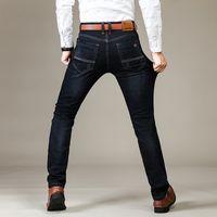 iş rahat erkekler kot pantolon toptan satış-Çizik Kardeş Wang yepyeni Men 's Moda Jeans İş Casual Stretch İnce Jeans Klasik Pantolon Denim Pantolon Erkek